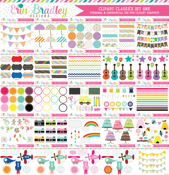 Commercial Use Clipart Classics Graphics Bundle Set 1