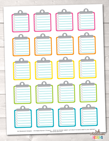 Clipboard To Do Checklists Printable Planner Stickers