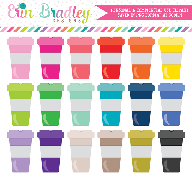 Colorful Coffee Cups Clipart