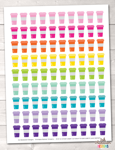 Instant Download Colorful Coffee Cups Printable Planner Stickers