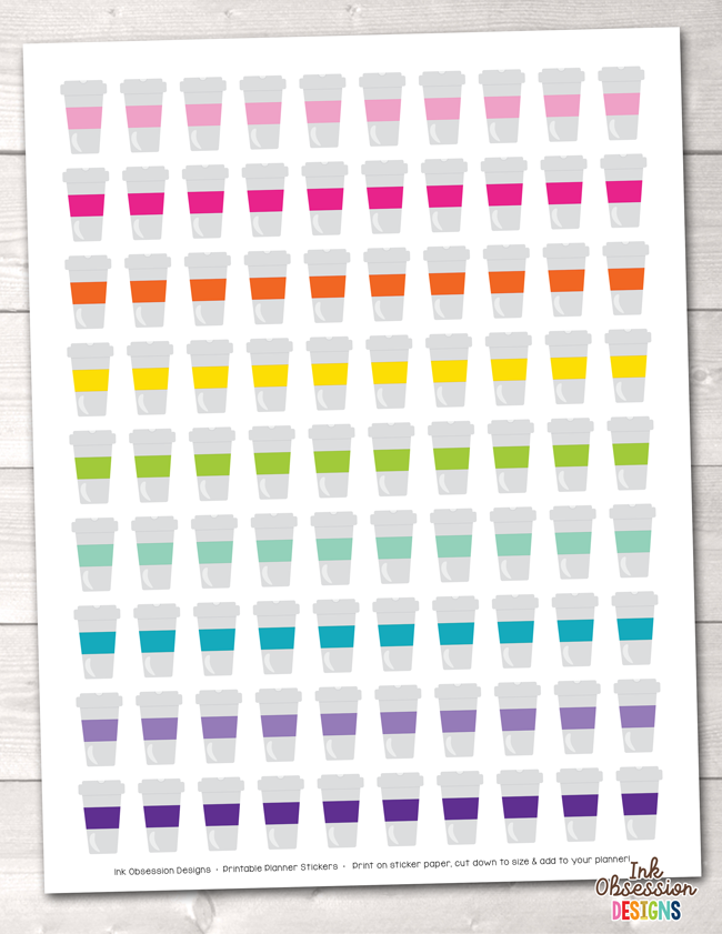 picture relating to Printable Coffee Cups called Espresso Cups Printable Planner Stickers