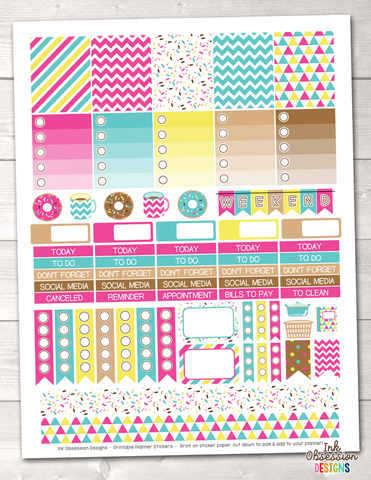 Coffee and Donuts Printable Planner Stickers Weekly Kit