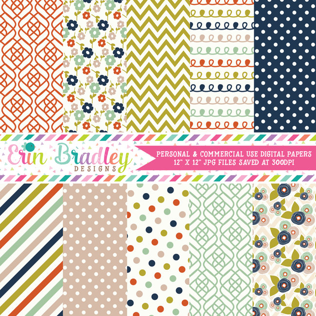 Colorful Fall Digital Paper Pack