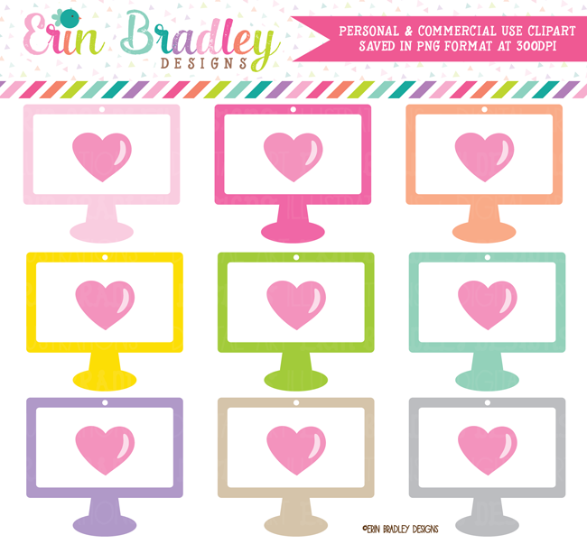 Computers with Hearts Clipart
