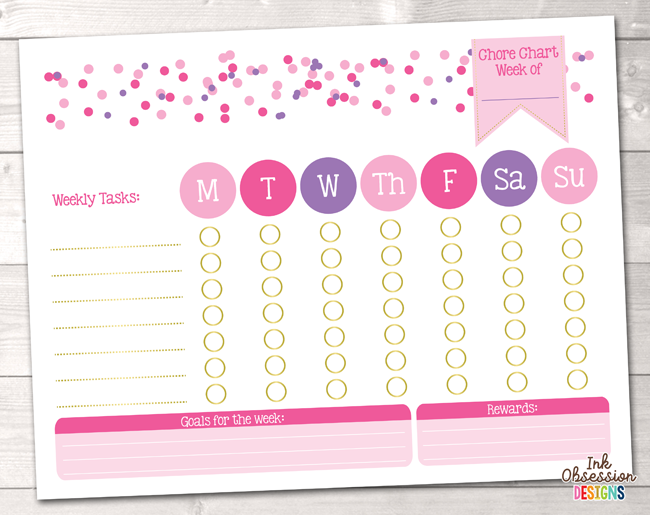 picture relating to Printable Chore Pictures referred to as Females Purple Polka Dot Confetti Printable Chore Chart PDF