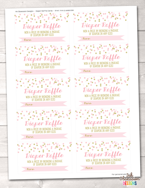 Pink Polka Dot Confetti Printable Diaper Raffle Ticket