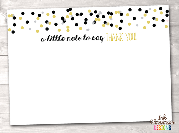 Black and Gold Confetti Polka Dots Printable Thank You Cards
