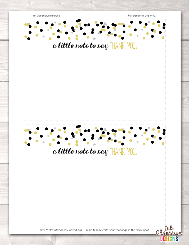 black and gold confetti polka dots printable thank you cards erin