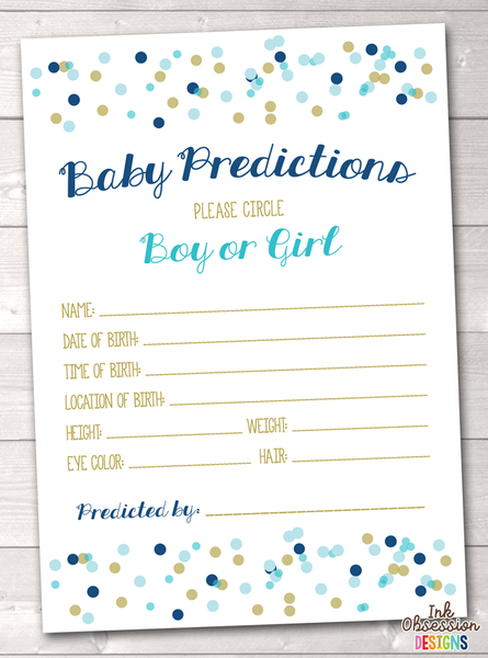 Blue and Gold Polka Dot Confetti Baby Predictions Cards