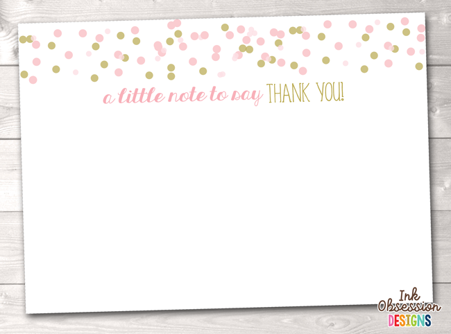 Pink And Gold Confetti Polka Dots Printable Thank You Cards
