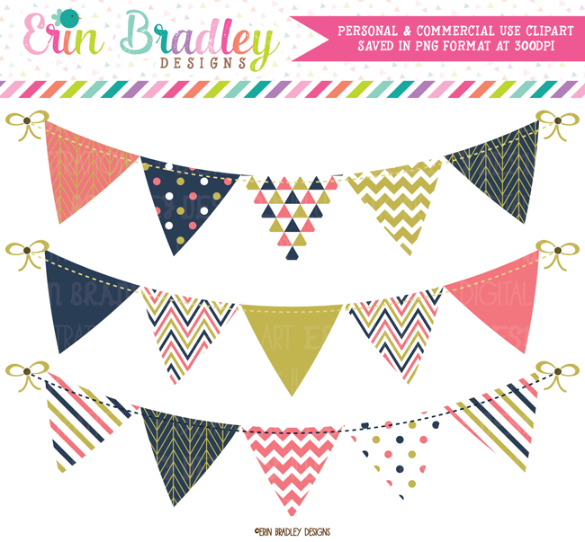 Coral Navy Gold Bunting Clipart