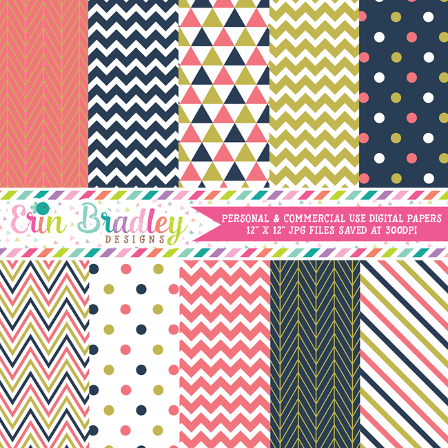 Coral Navy Gold Digital Papers