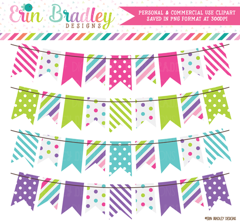 Clipart Banner Flag Bunting in Pink Green Blue Purple