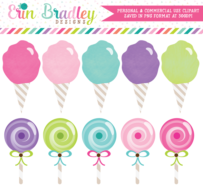Carnival Clipart Cotton Candy and Lollipops