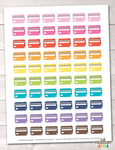 Credit Cards Printable Planner Stickers
