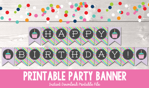 Instant Download Printable Happy Birthday Cupcake Banner in Purple