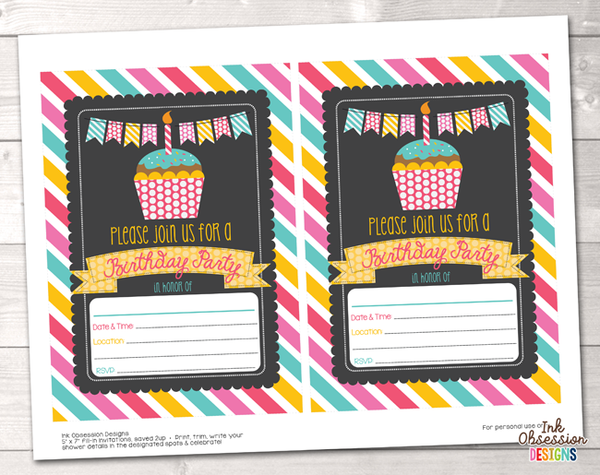 Cupcake Party Printable Birthday Party Invitation
