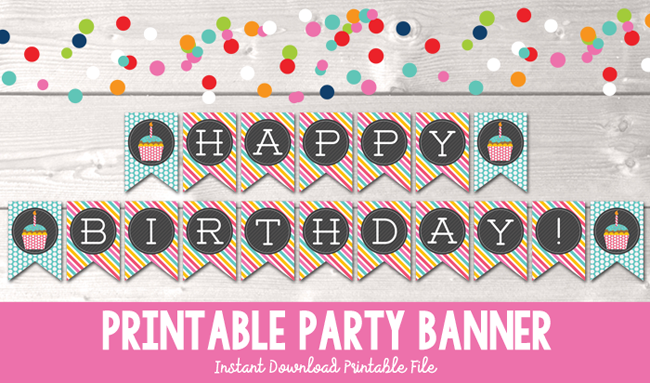 graphic relating to Birthday Banner Printable identified as Satisfied Birthday Cupcake Printable Occasion Banner inside of Blue