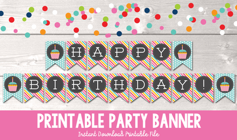 Instant Download Printable Happy Birthday Cupcake Banner in Blue