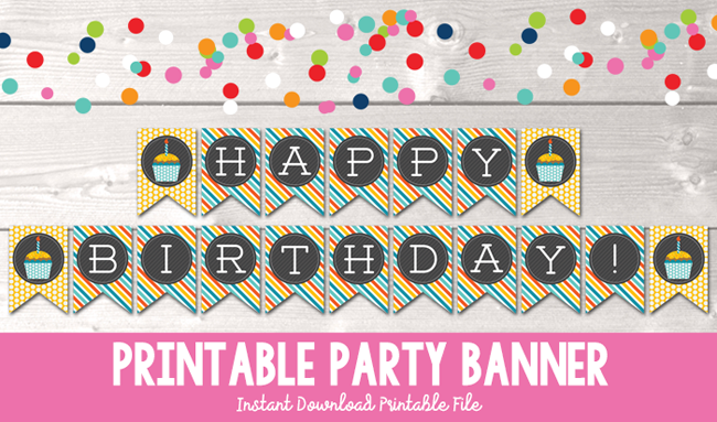 graphic regarding Printable Happy Birthday Images referred to as Satisfied Birthday Cupcake Printable Get together Banner within just Yellow