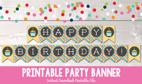 Instant Download Printable Happy Birthday Cupcake Banner in Yellow