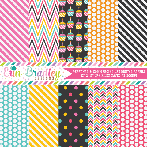 Cupcake Party Digital Paper Pack