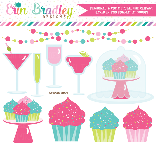 Cupcakes and Cocktails Clipart