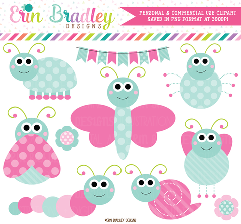 Cute Bugs Clipart Kids Graphics in Pink and Blue