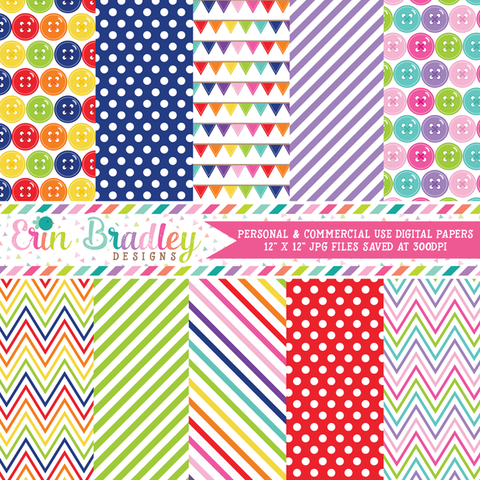 Cute as a Button Digital Papers