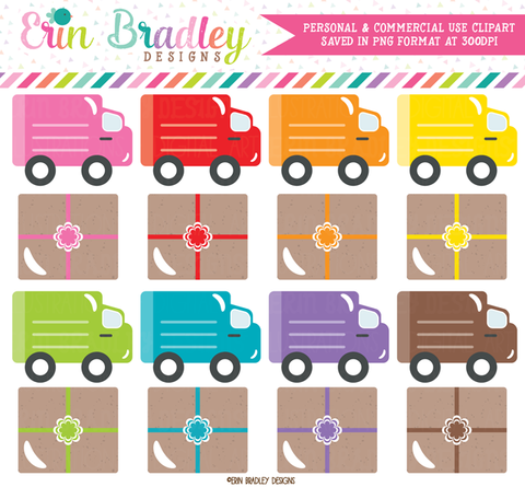 Delivery Trucks and Packages Clipart
