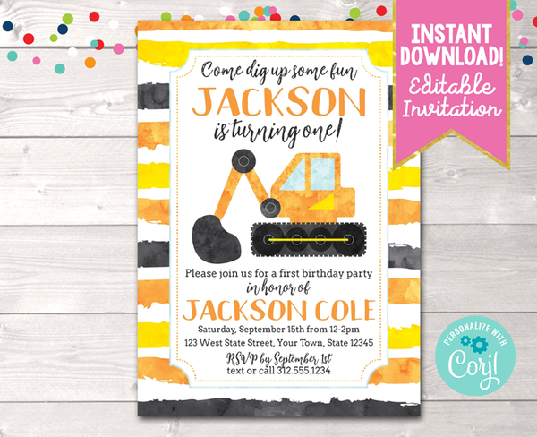 Editable Construction First Birthday Party Invitation Instant Download Digital File