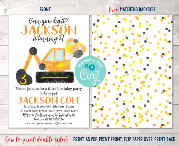 Editable Construction Digger Birthday Party Invitation Instant Download Digital File