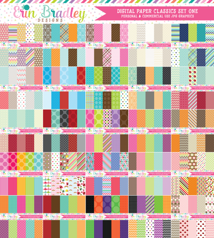 Digital Paper Classics Bundle Set One Commercial Use Graphics
