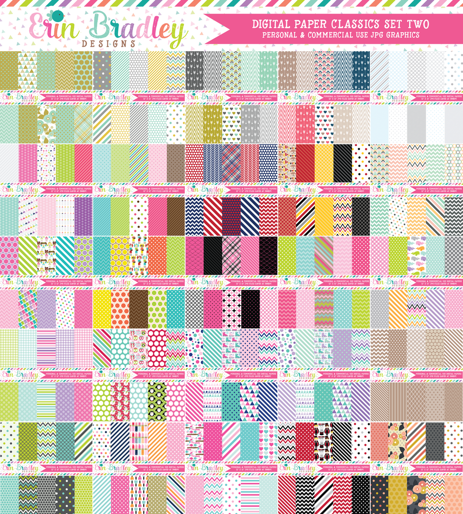 Commercial Use Digital Paper Bundle - Classics Set Two