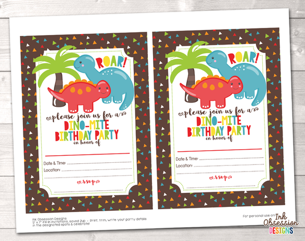Dinosaur Printable Birthday Party Invitation