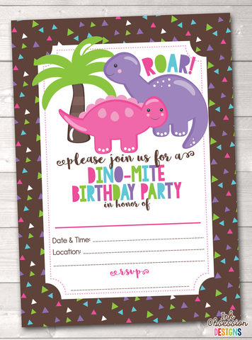 Dinosaur Girls Printable Birthday Party Invitation
