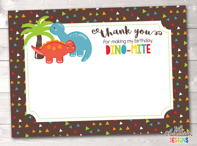 graphic relating to Dinosaur Birthday Card Printable identified as Dinosaur Birthday Social gathering Thank By yourself Playing cards