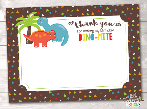 Instant Download Printable Dinosaur Party Thank You Card