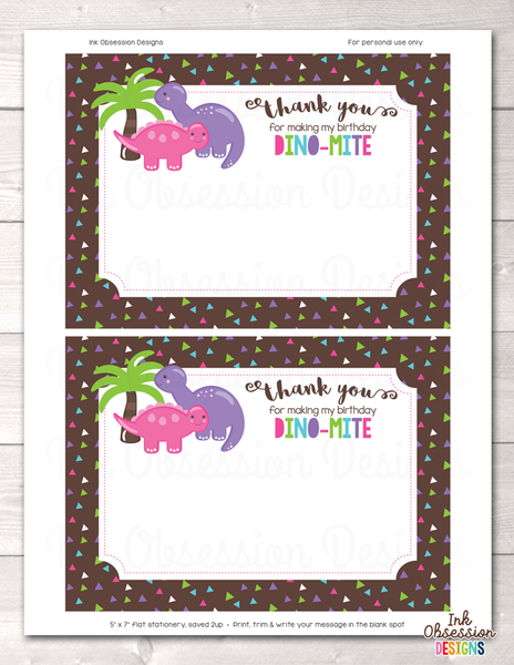 Instant Download Girls Printable Dinosaur Party Thank You Card