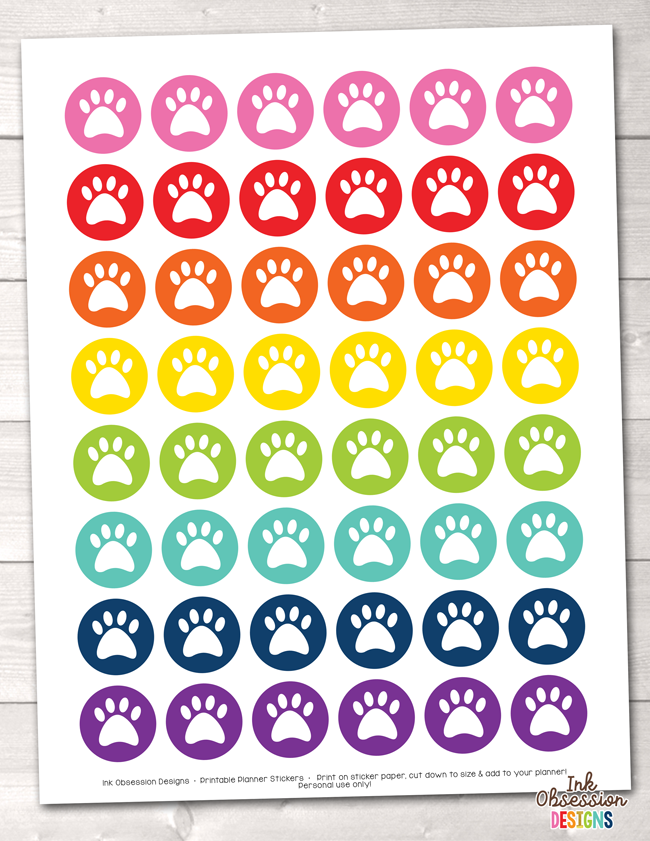 photograph relating to Printable Circle Stickers titled Pet Paw Print Circles Printable Planner Stickers
