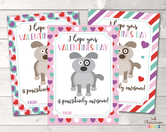 puppy dogs printable valentines day cards - Dog Valentines Day Cards