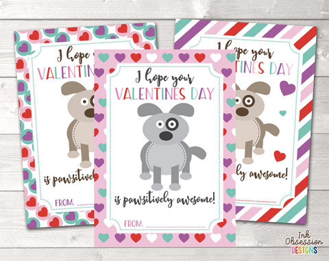 Puppy Dogs Printable Valentines Day Cards