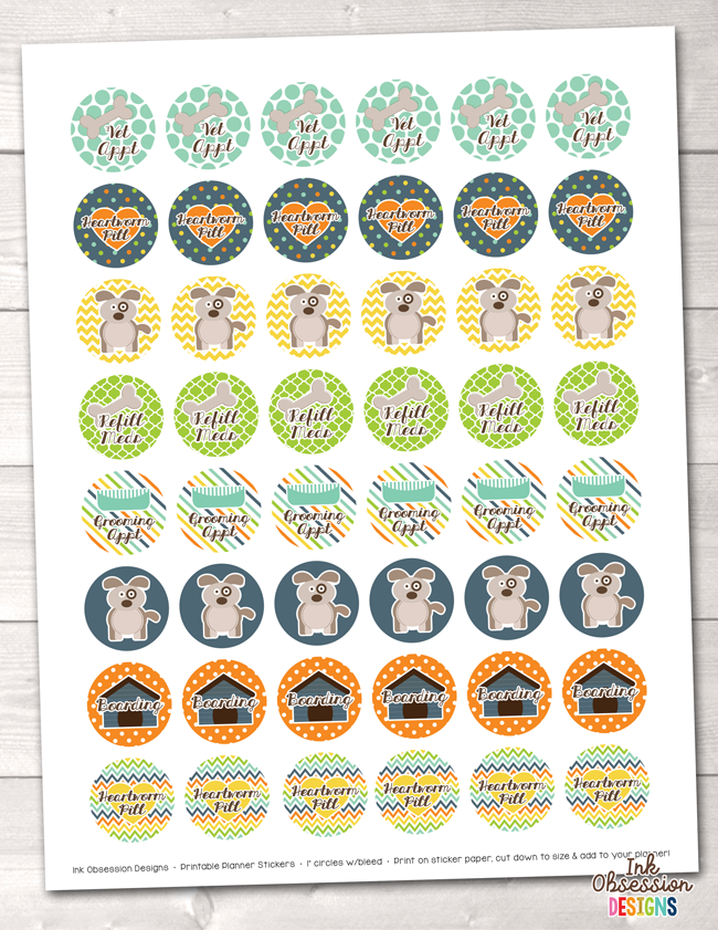 Dog Printable Planner Stickers