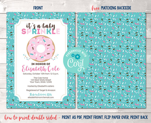 Editable Donut Baby Sprinkle Blue Baby Shower Invitation Instant Download Digital File