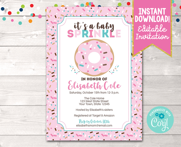 Editable Donut Baby Sprinkle Pink Baby Shower Invitation Instant Download Digital File