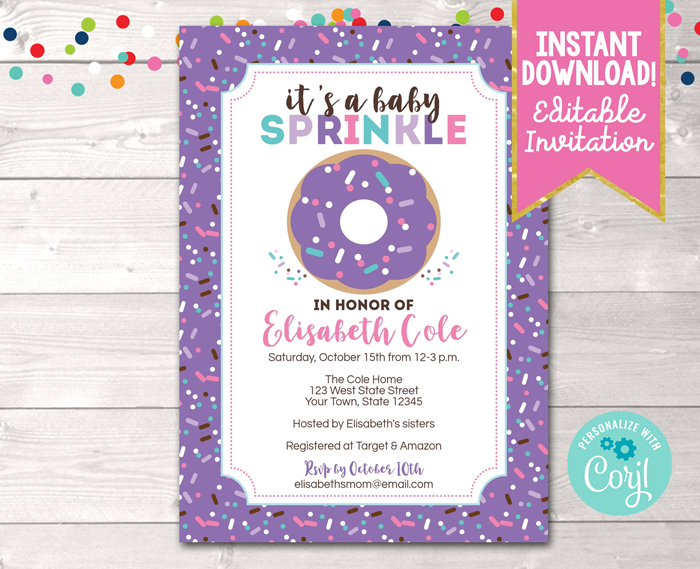 Editable Donut Baby Sprinkle Purple Baby Shower Invitation Instant Download Digital File