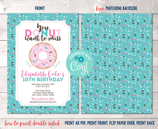 Editable Donut Birthday Party Invitation in Blue Instant Download Digital File