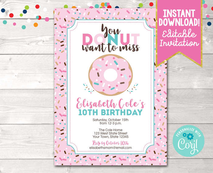 Editable Donut Birthday Party Invitation in Pink Instant Download Digital File