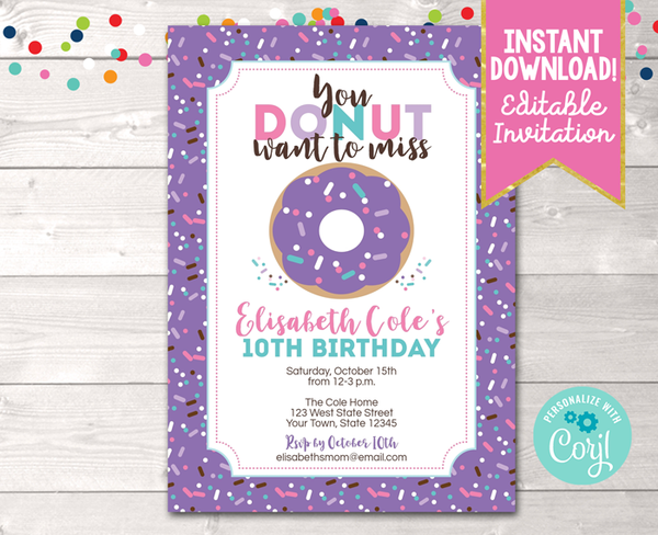 Editable Donut Birthday Party Invitation in Purple Instant Download Digital File