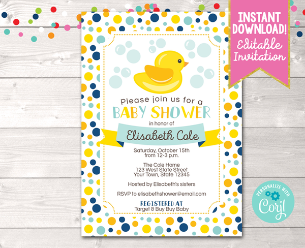 Editable Duck Blue Baby Shower Invitation Instant Download Printable PDF
